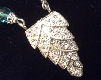 Vintage Assemblage Rhinestone Aqua Necklace