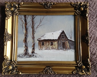 Oil painting by C. Danset Winter Scene with Barn and Snow Landscape