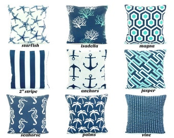 OUTDOOR Navy Throw Pillow COVER Nautical Navy Pillow Cushion Mix & Match All SIZES Couch Pillow Patio Cottage Home Decor Outdoor Cushion
