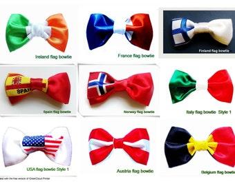 One Bowtie Ireland,French,usa,spain,Finland,Norway,Austria,Belgium,Italy  flag ,hand sewn pre tied bowties