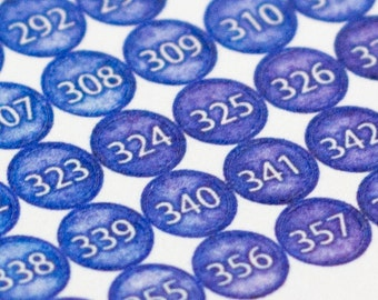 Planner Stickers ~ Small 365 Watercolor Dots in Glacier (Inkwell Press, Erin Condren, Plum Paper, Fliofax, Kikki K, Happy Planner)