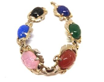 Vintage 1960s Egyptian Revival Silver Toned Coloured Glass Scarab Beetle Bracelet