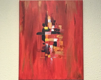 Red square - abstract painting warm colors painting