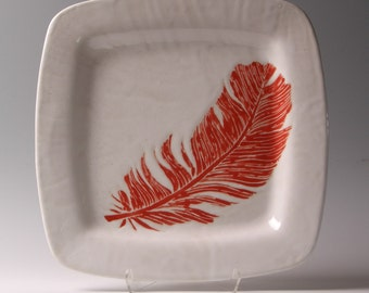 Red feather serving dish, serving plate, platter, tray 12x12 inches, by Jessica Howard