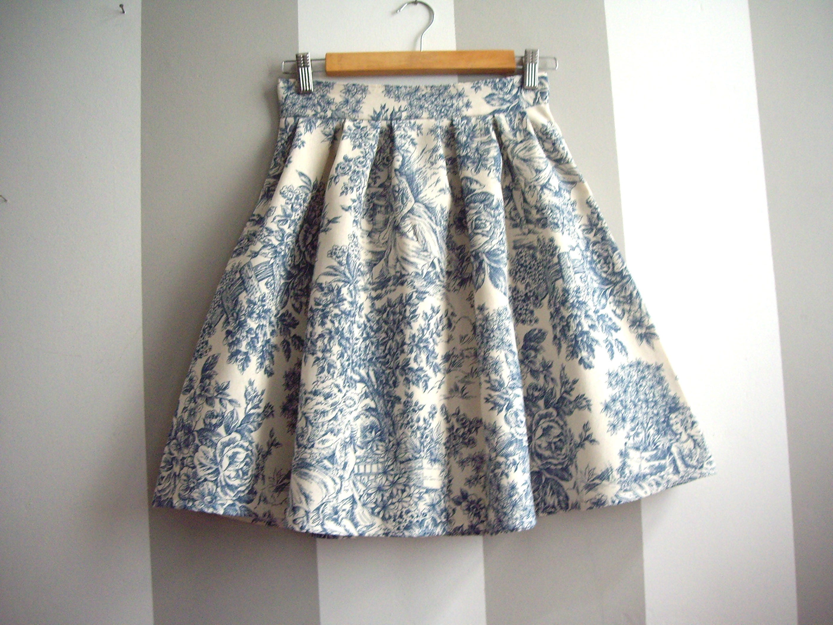 Toile de Jouy Skirt in Blue, Cotton Pleated Skirt With Toile Print, High Waist Lolita Skirt, Plus Sizes Available, Made to Order
