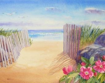 Beach Print Watercolor Seascape Painting Beach Decor Coastal Art by Janet Zeh Original Art
