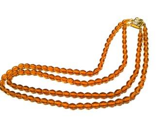 CZECH Translucent Yellow Amber Brown Oval GLASS Crystal 2 Strands Beads Necklace Vintage Jewelry artedellamoda talkingfashion