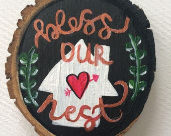Faux Chalkboard Wood Slices // Wood Slice Decor // Wood Slice Art // Home Art // Wood Slice Magnet // Wood Slice Ornaments