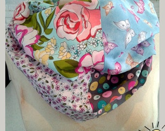 rose, butterfly,flower resersible infinity scarf