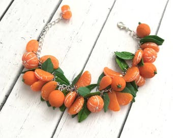 Bracelet - luscious mandarins- polymer clay jewelry- tangerine bracelet-orange bracelet