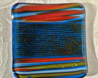 Blue Striped Fused Glass Plate Fused Glass Decor Fused Glass Dish Fused Glass Art