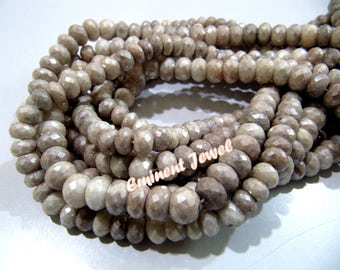"""Top Quality Mystic Coated Grey Silverite Beads / Rondelle Faceted Silverite Chalcedony Beads / Size 7-8mm / Strand 8"""" long / Silver Coated"""