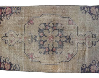 "Vintage Turkish Rug, Hand Knotted Wool Rug, distressed Rug, Hand Made boho Area Rug, Antique Floor brown Rug 3'7"" X 6'8"" (113 Cm x 208 Cm)"