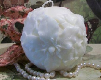 Beeswax Flower Ball Poinsettia Christmas Rose Candle Choice Of Color