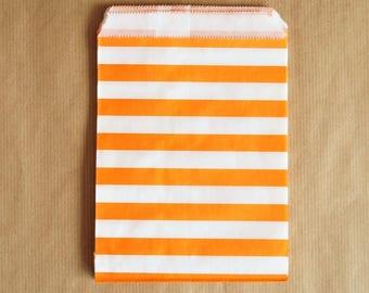 5 paper bags orange and white chevrons 13 x 18 cm
