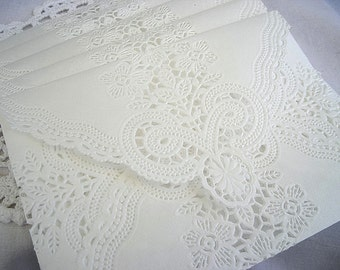 Sale - Doily Lace Envelopes - Vintage Doily Lace Envelope, Soft White A7 Size Shabby Chic Custom Sizes Vintage Paper lace Envelopes