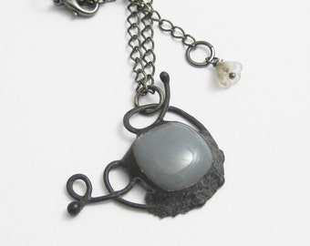 Abstract   Fused Glass   Pendant   Chain   Gift Under 50   Eclectic Jewelry   Grey   Bohemian   OOAK   Eccentric   Gift for Women