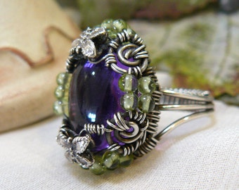Amethyst Ring ~ Wire Wrapped Amethyst Ring ~ Amethyst Wire Ring ~ Silver Wire Ring ~ Amethyst and Peridot Ring ~ Peridot Ring ~  Size 7 1/2