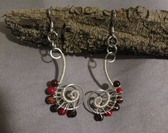 Scroll Earrings with Red Tiger Eye, Coral, and Red Agate