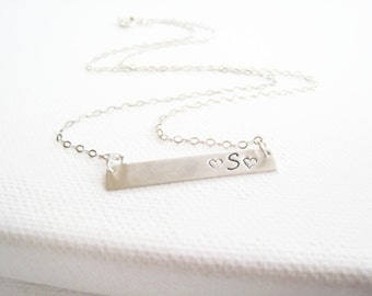 Sterling Silver Bar Necklace Hand Stamped Personalized Gift Bar Necklace Brushed Silver Bar Personalized Jewelry Initial Celebrity Inspired