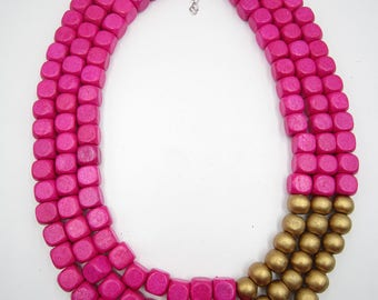 Hot Pink Necklace,Multi Strand Necklace,Chunky Necklace,Golden Necklace,Bridesmaid Gifts,Wedding Gift idears,Statement Necklace For Women