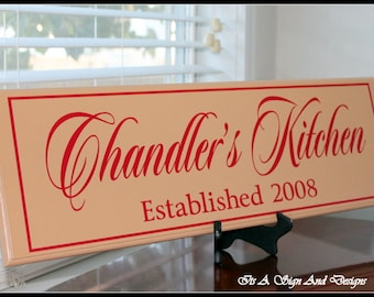 Personalized Kitchen Sign, Wood Kitchen Sign, Kitchen Sign Decor, Custom Wood Sign, Housewares, Kitchen Signage, Kitchen Wall Decor Kitchen