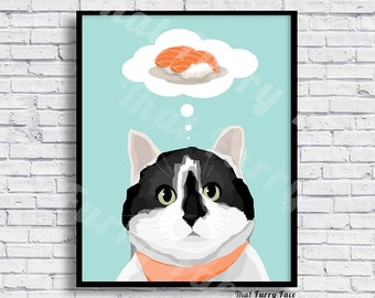 PRINTABLE CAT POSTER |Sushi Cat | Gift | Print it yourself | Poster