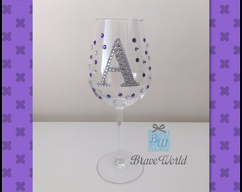 Personalised Hand Decorated Wine Glass, Purple Rhinestones, Decorated Wine Glass, Personalised Gift, Purple Wine Glass. Wine Theme Gift