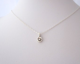 97% solid sterling silver TINY HEART dot charm necklace, delicate everyday necklace