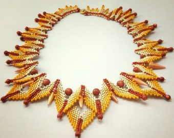 Desert Mustard Colored Spike Necklace