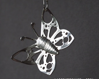 Silver butterfly pendant, long, statement necklace, handmade, gift for women, long chain, Mothers Day gift, hallmarked