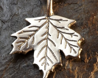 Maple Leaf - Pewter Pendant - Tree of Life, Nature Conservation Jewelry,  Canada, Canadian