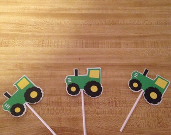 Set of 12 tractor Cupcake Toppers