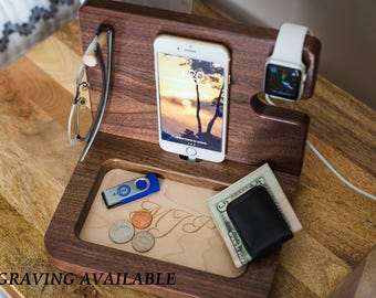 Iphone X Dock, Groomsmen Gifts, Iphone Charging Station, Groomsmen Gift Box, Mens Valet, Personalized Valet, Gifts for husband, Groomsmen.