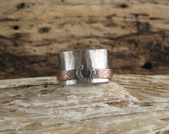 Custom - sterling silver - copper - mixed metal - horse shoe - spinner ring - spin ring - fidget ring - western ring - horse lover rider
