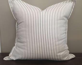 Gray Ticking Stripe Pillow, Farmhouse Pillows, Cottage Pillows,  Pillow Cover, Home Decor, Pillow Cover 18x18 or 20x20