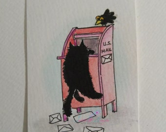 ORIGINAL #34 silly cat crow letter mailbox watercolor animals aceo freeshipping