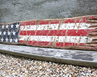 """Wood American Flag Rustic Decor Country Decor Red White Blue  USA Wood Sign 36"""" 48"""""""