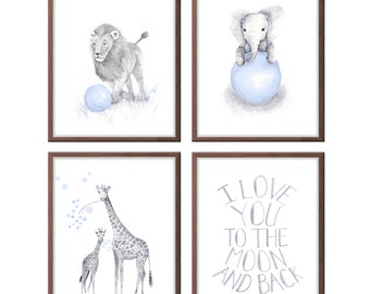 Animal Nursery Decor, Blue and Gray Nursery Art, Set of Four, Safari Animals Wall Art Lion Giraffe Elephant, Animal Pictures - S4029