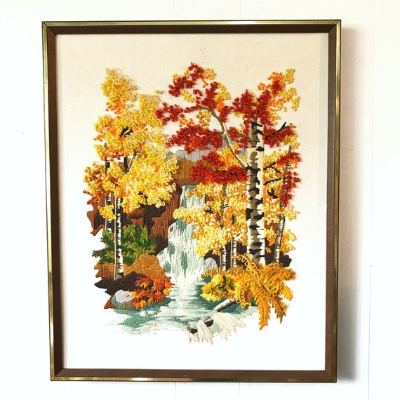vintage Autumn waterfall crewel - large framed embroidery - birch trees - nature scenic landscape