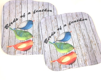 Kitchen Pot Holders, Birds of a Feather , Set of 2, Blue, Green, Orange, Bird Lover Gifts