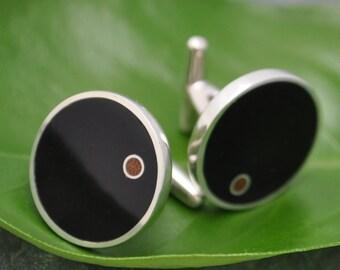 Punto - Wood Cufflinks Coyol with Moran Wood Circle Inlay