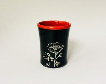 Handmade Floral Poppy Pottery Tumbler