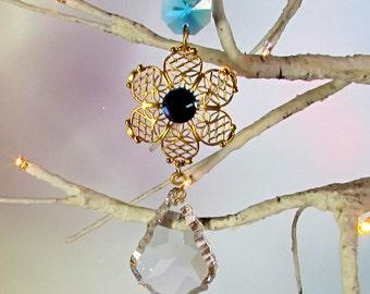 Prism Sun Catcher, Aqua Crystal Flower Filigree, Mother's Day Gift, 1S-16