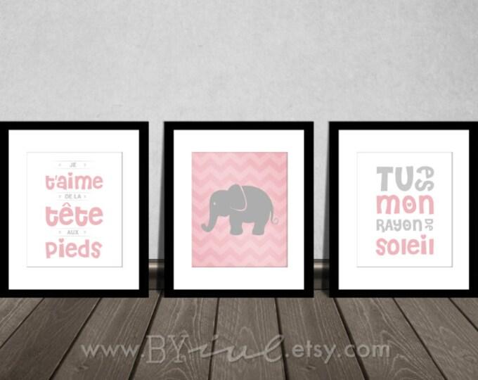 Nursery french quote printable, chevron elephant, tu es mon rayon de soleil, Je t'aime de la tête aux pieds Downloadable. Print it yourself.