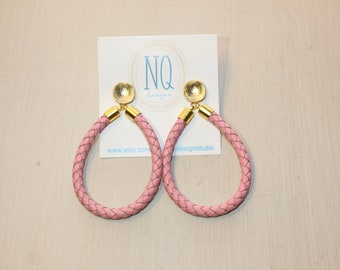Pink braided leather earrings
