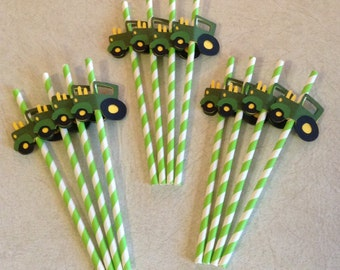 Tractor Straws - Birthday Decorations, Party Supplies