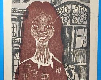 Xylography by Lila Gonzalez Lagrotta, 1973 - Club de Grabado de Montevideo, Uruguay. Pablo Neruda