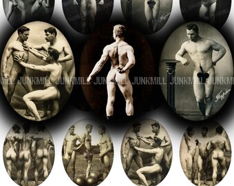 MALE NUDES - Digital Printable Collage Sheet - 30 x 40 mm Ovals - Vintage Male Nudes, Carnival Strong Men, Mature Risque, Digital Download