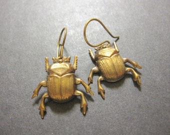 Beetle Earrings, Bug Earrings, Insect Earrings, Insect Jewelry, Bugs, Brass Beetles, Woodland Bug, Pierced, Dangle, Gothic, Creepy, For Her